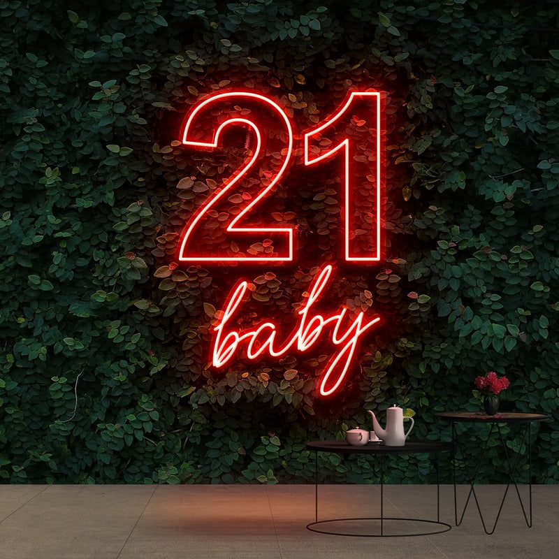 """21 Baby"" Birthday Neon Sign 60cm (2ft) / Red / Cut to Shape by Neon Icons"