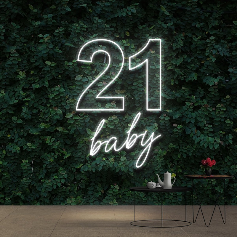 """21 Baby"" Birthday Neon Sign 60cm (2ft) / White / Cut to Shape by Neon Icons"