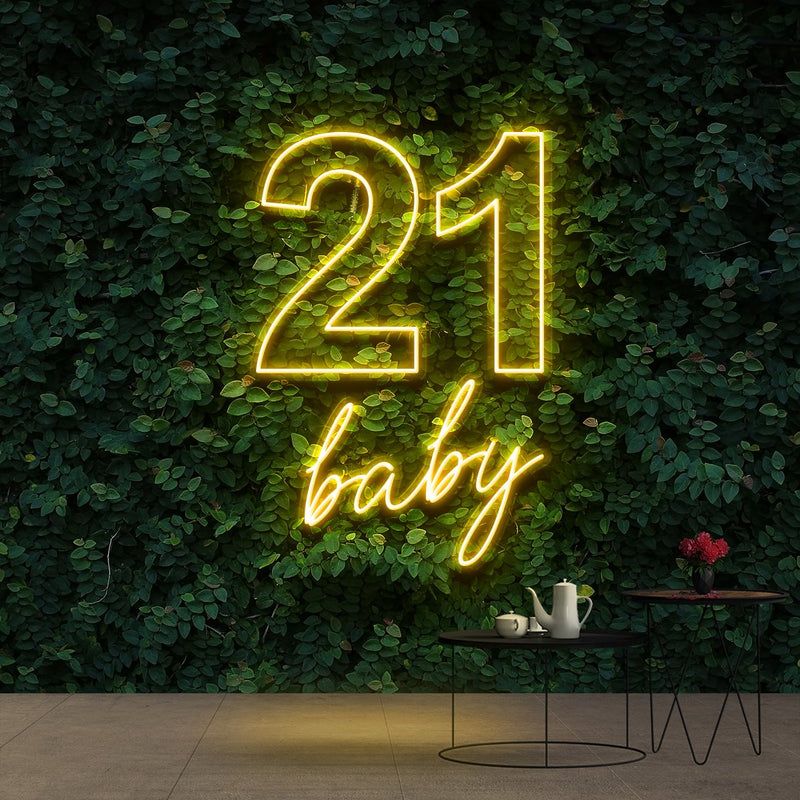 """21 Baby"" Birthday Neon Sign 60cm (2ft) / Yellow / Cut to Shape by Neon Icons"