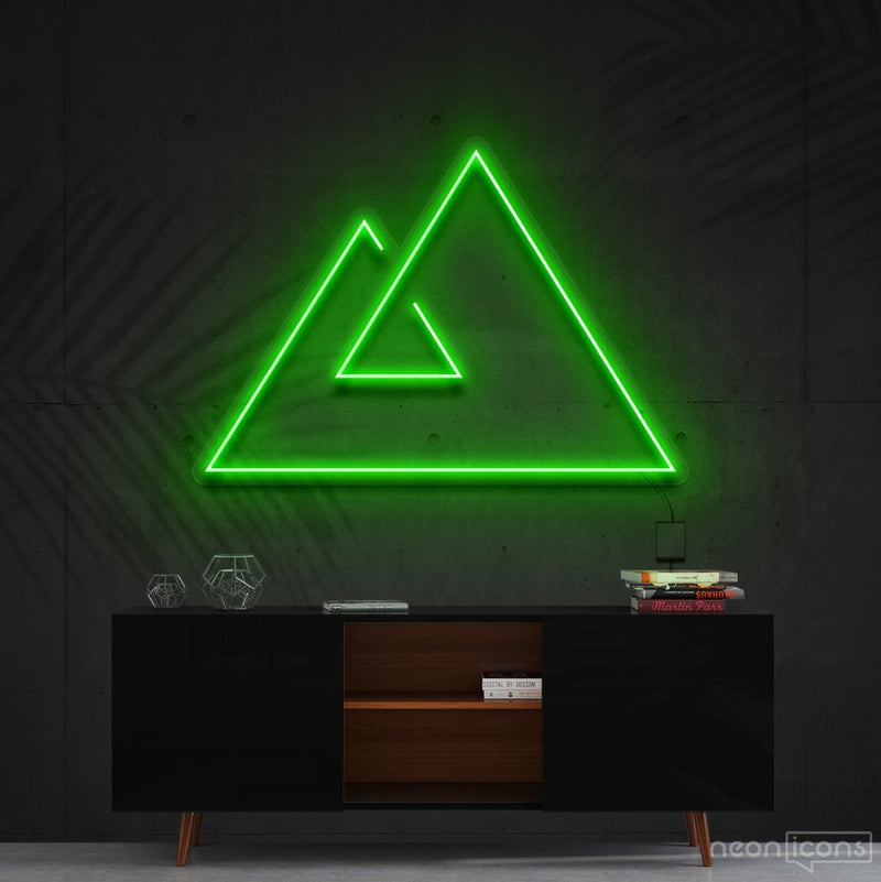 """Abstract Mountains"" Neon Sign 60cm (2ft) / Green / Cut to Shape by Neon Icons"