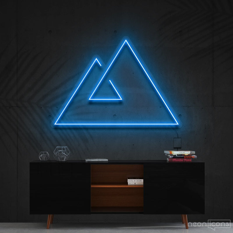 """Abstract Mountains"" Neon Sign 60cm (2ft) / Ice Blue / Cut to Shape by Neon Icons"