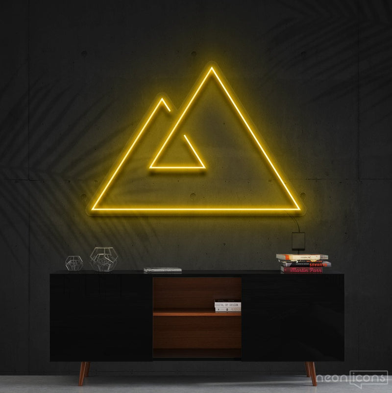 """Abstract Mountains"" Neon Sign 60cm (2ft) / Yellow / Cut to Shape by Neon Icons"