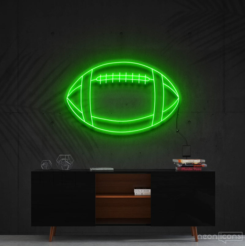 """American Football"" Neon Sign 60cm (2ft) / Green / Cut to Shape by Neon Icons"