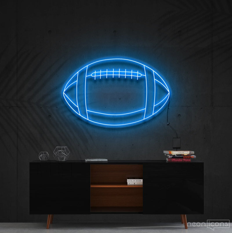 """American Football"" Neon Sign 60cm (2ft) / Ice Blue / Cut to Shape by Neon Icons"