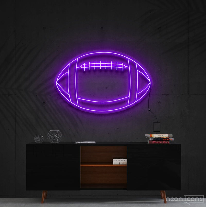 """American Football"" Neon Sign 60cm (2ft) / Purple / Cut to Shape by Neon Icons"
