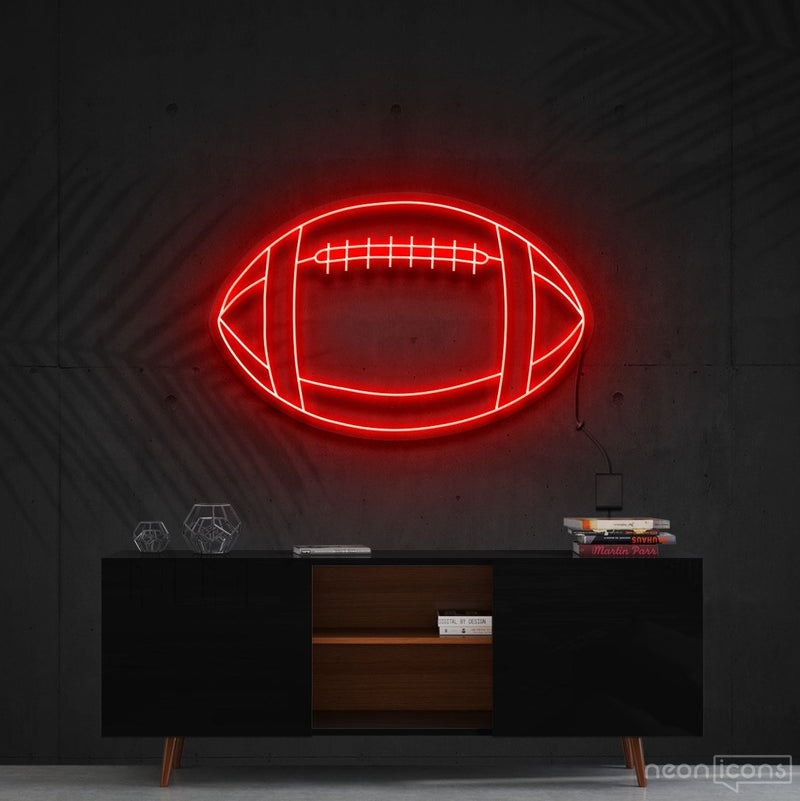 """American Football"" Neon Sign 60cm (2ft) / Red / Cut to Shape by Neon Icons"