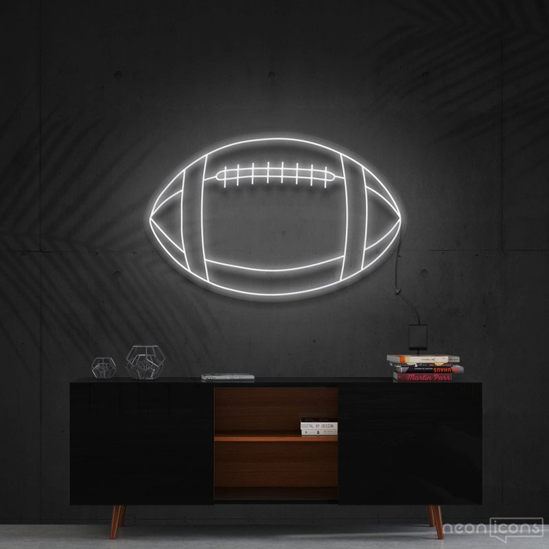 """American Football"" Neon Sign 60cm (2ft) / White / Cut to Shape by Neon Icons"
