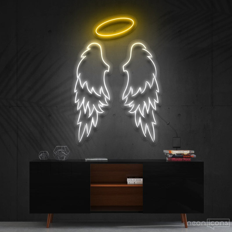 """Angel Wings"" Multicolour Neon Sign 90cm (3ft) / Yellow / Cut to Shape by Neon Icons"