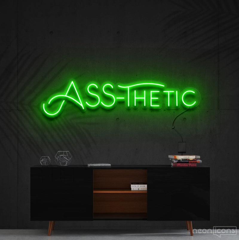 """Ass-Thetic"" Neon Sign 60cm (2ft) / Green / Cut to Shape by Neon Icons"
