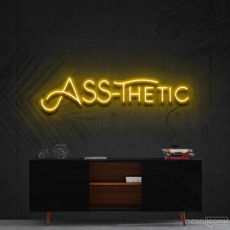 """Ass-Thetic"" Neon Sign 60cm (2ft) / Yellow / Cut to Shape by Neon Icons"