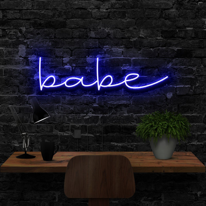 """Babe"" Neon Sign 40cm (1.3ft) / Blue / LED Neon by Neon Icons"
