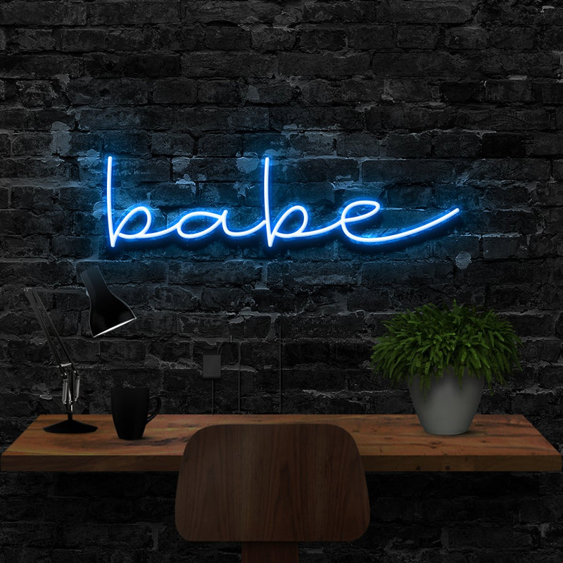 """Babe"" Neon Sign 40cm (1.3ft) / Ice Blue / LED Neon by Neon Icons"