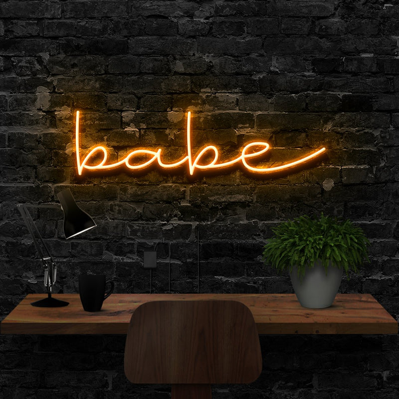 """Babe"" Neon Sign 40cm (1.3ft) / Orange / LED Neon by Neon Icons"