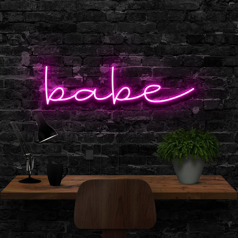 """Babe"" Neon Sign 40cm (1.3ft) / Pink / LED Neon by Neon Icons"