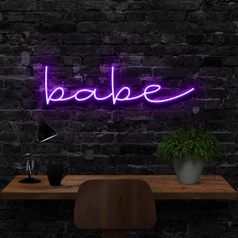 """Babe"" Neon Sign 40cm (1.3ft) / Purple / LED Neon by Neon Icons"