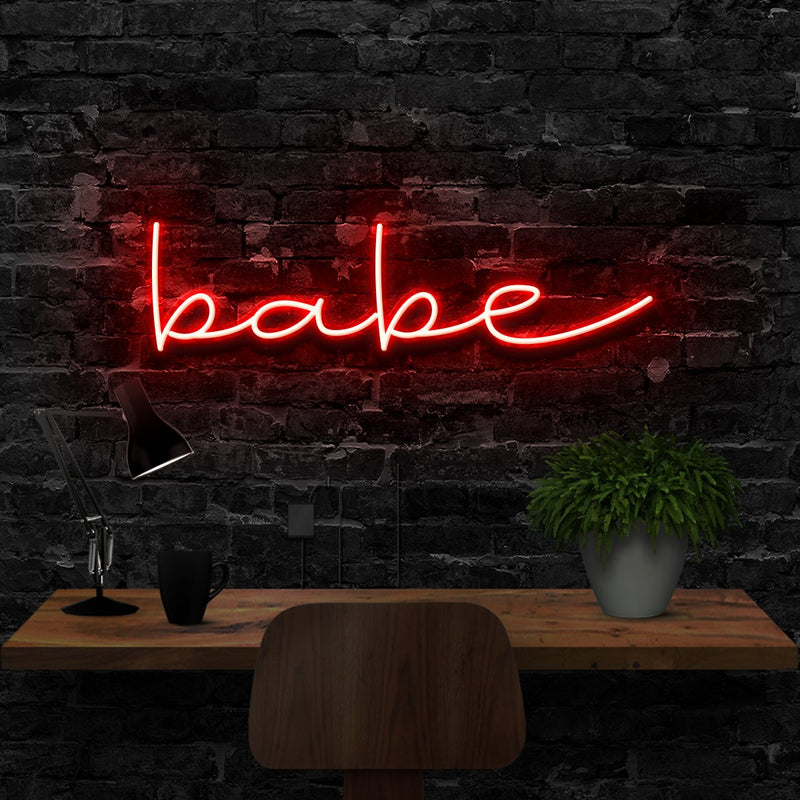 """Babe"" Neon Sign 40cm (1.3ft) / Red / LED Neon by Neon Icons"