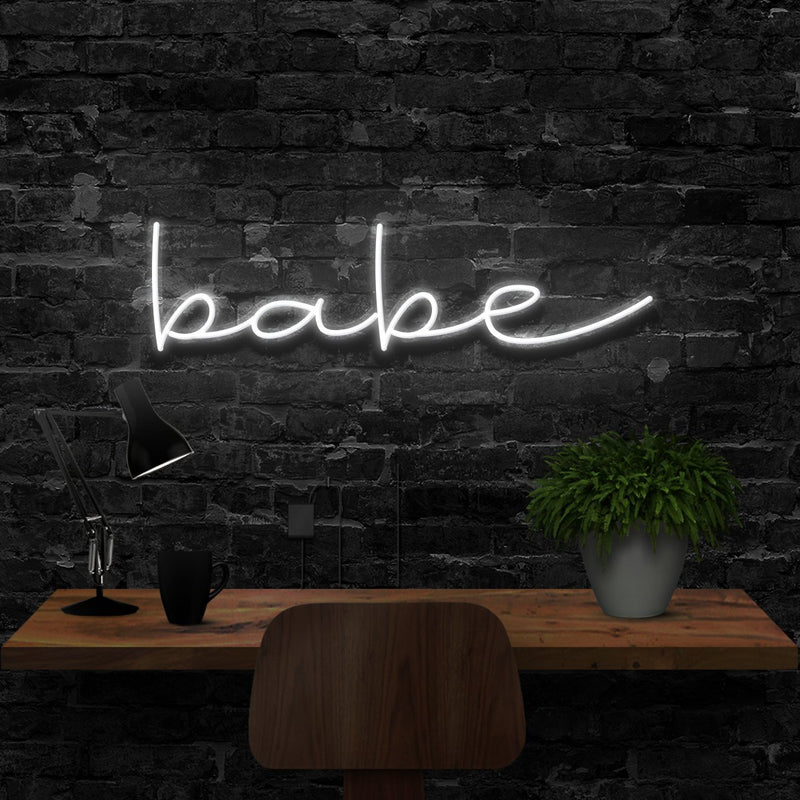 """Babe"" Neon Sign 40cm (1.3ft) / White / LED Neon by Neon Icons"