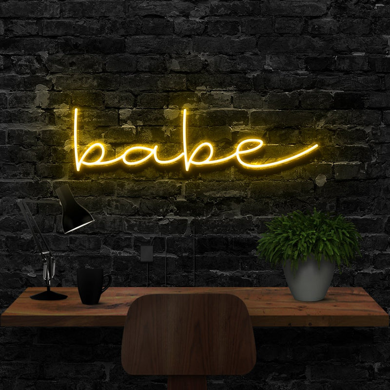 """Babe"" Neon Sign 40cm (1.3ft) / Yellow / LED Neon by Neon Icons"