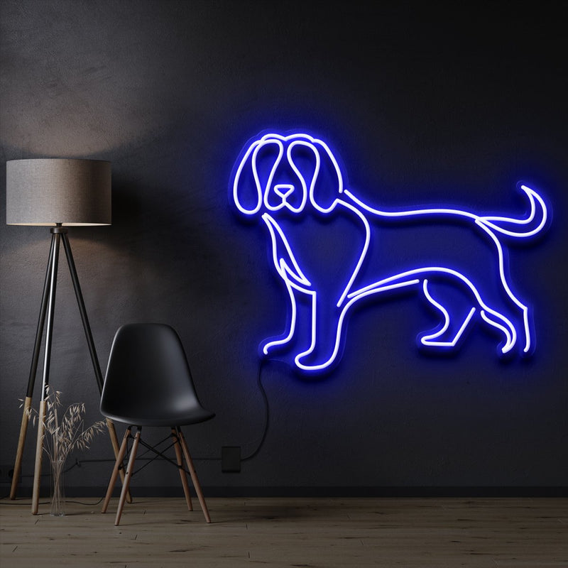 """Beagle"" Pet Neon Sign 60cm / Blue / Cut to Shape by Neon Icons"