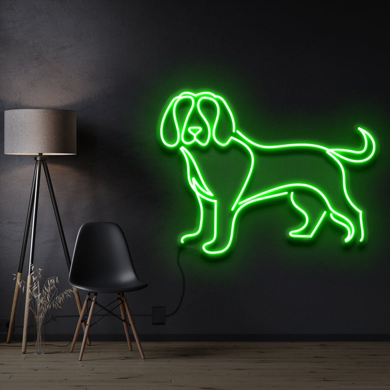"""Beagle"" Pet Neon Sign 60cm / Green / Cut to Shape by Neon Icons"