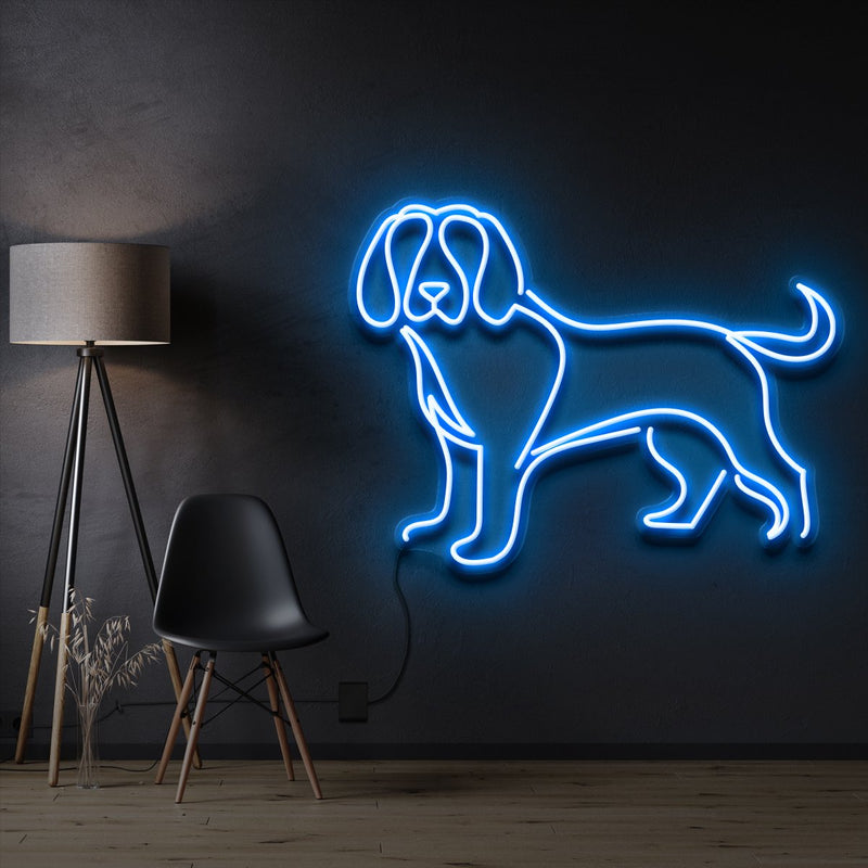 """Beagle"" Pet Neon Sign 60cm / Ice Blue / Cut to Shape by Neon Icons"
