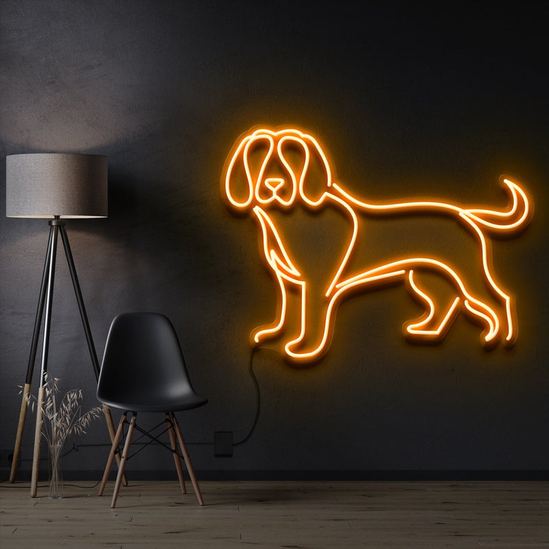 """Beagle"" Pet Neon Sign 60cm / Orange / Cut to Shape by Neon Icons"