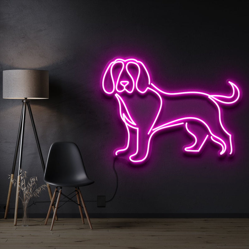 """Beagle"" Pet Neon Sign 60cm / Pink / Cut to Shape by Neon Icons"