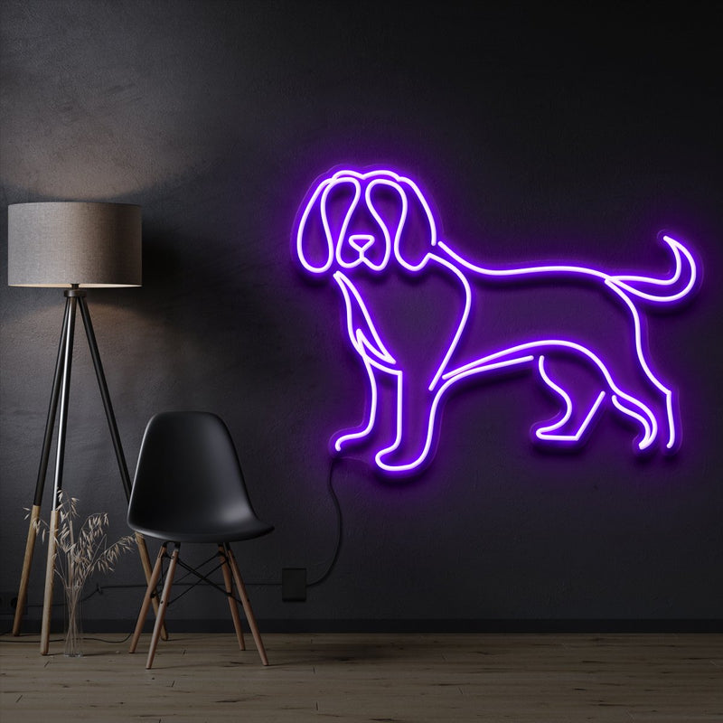 """Beagle"" Pet Neon Sign 60cm / Purple / Cut to Shape by Neon Icons"