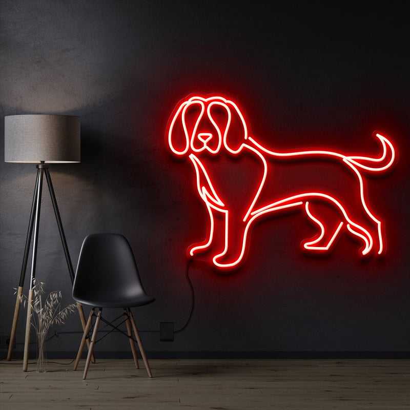 """Beagle"" Pet Neon Sign 60cm / Red / Cut to Shape by Neon Icons"
