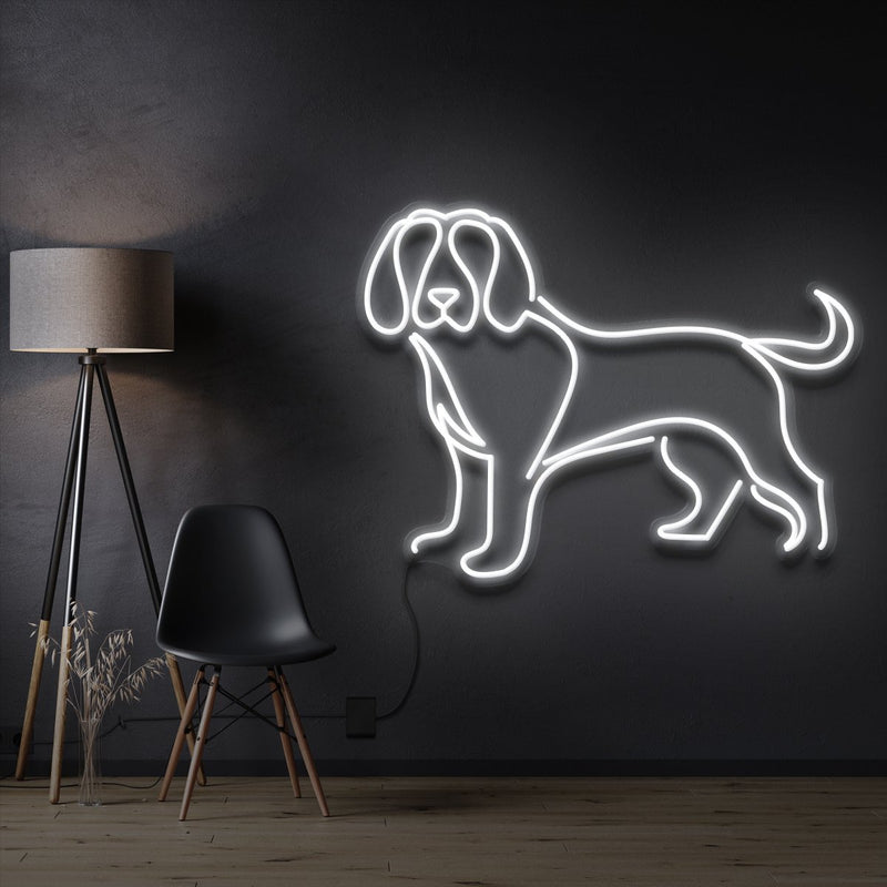"""Beagle"" Pet Neon Sign 60cm / White / Cut to Shape by Neon Icons"