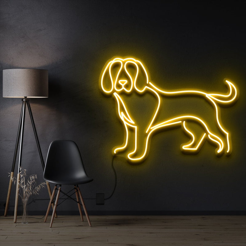 """Beagle"" Pet Neon Sign 60cm / Yellow / Cut to Shape by Neon Icons"