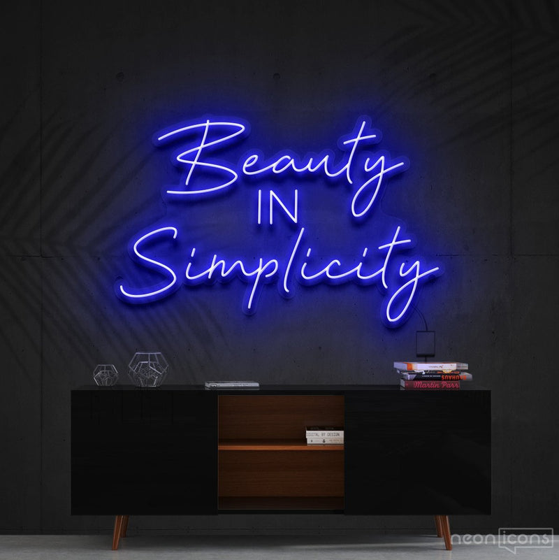 """Beauty in Simplicity"" Neon Sign 60cm (2ft) / Blue / Cut to Shape by Neon Icons"