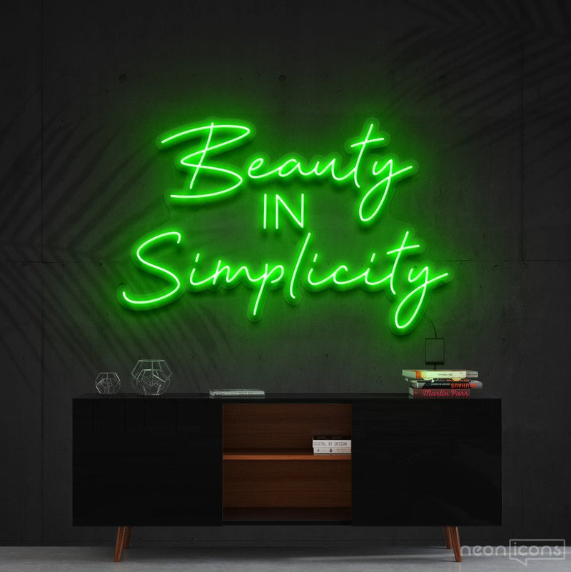 """Beauty in Simplicity"" Neon Sign 60cm (2ft) / Green / Cut to Shape by Neon Icons"
