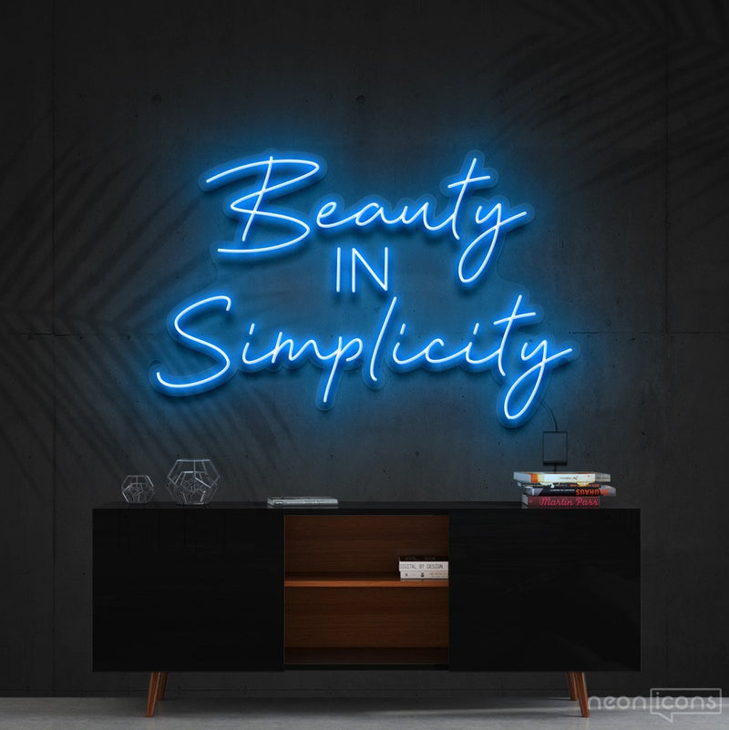 """Beauty in Simplicity"" Neon Sign 60cm (2ft) / Ice Blue / Cut to Shape by Neon Icons"