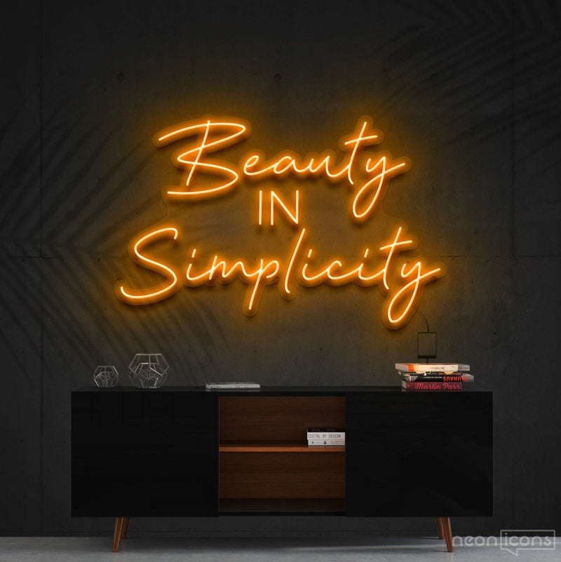 """Beauty in Simplicity"" Neon Sign 60cm (2ft) / Orange / Cut to Shape by Neon Icons"
