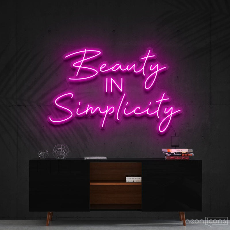 """Beauty in Simplicity"" Neon Sign 60cm (2ft) / Pink / Cut to Shape by Neon Icons"