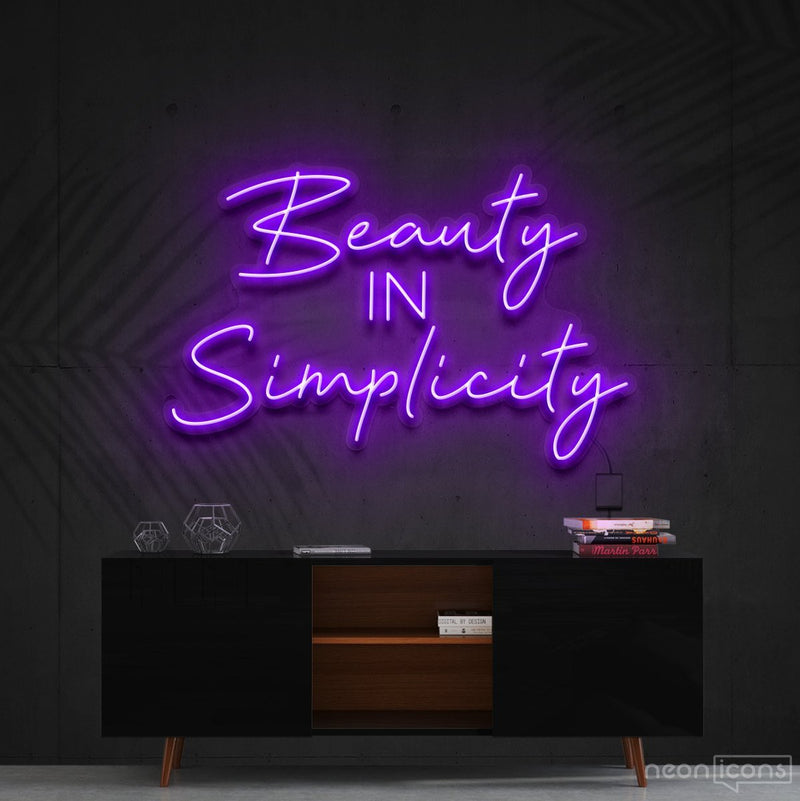 """Beauty in Simplicity"" Neon Sign 60cm (2ft) / Purple / Cut to Shape by Neon Icons"