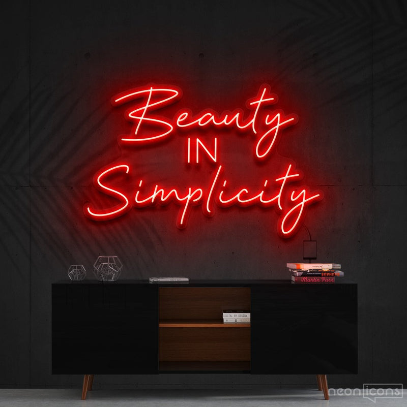 """Beauty in Simplicity"" Neon Sign 60cm (2ft) / Red / Cut to Shape by Neon Icons"