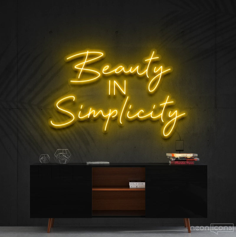 """Beauty in Simplicity"" Neon Sign 60cm (2ft) / Yellow / Cut to Shape by Neon Icons"