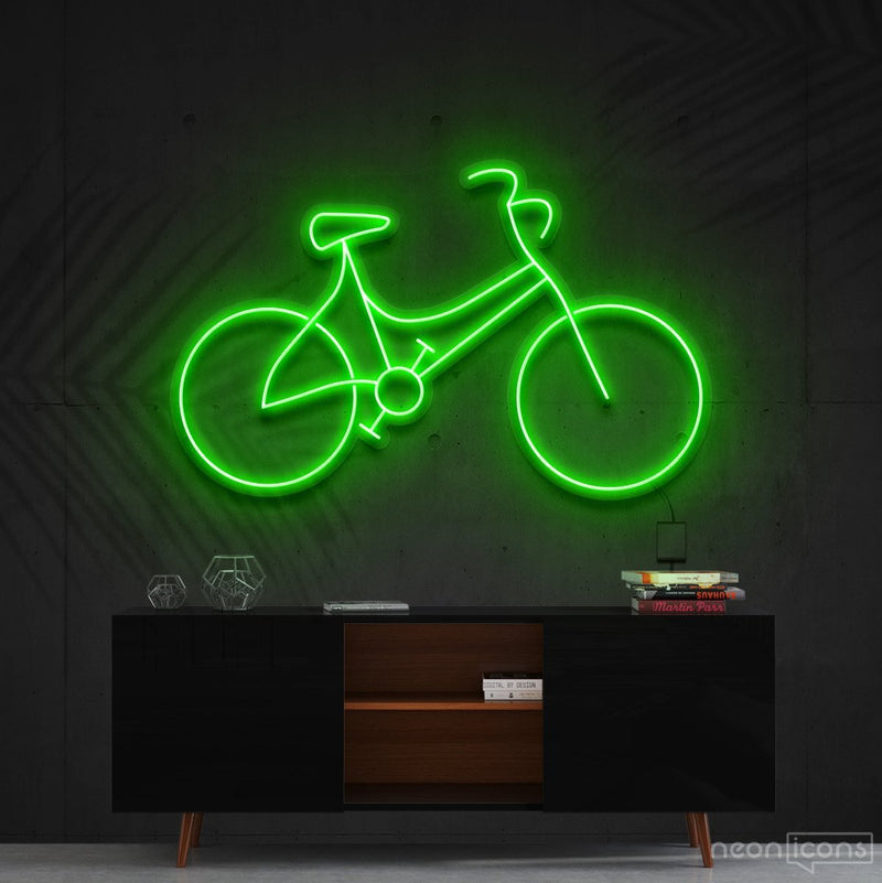 """Bicycle"" Neon Sign 60cm (2ft) / Green / Cut to Shape by Neon Icons"
