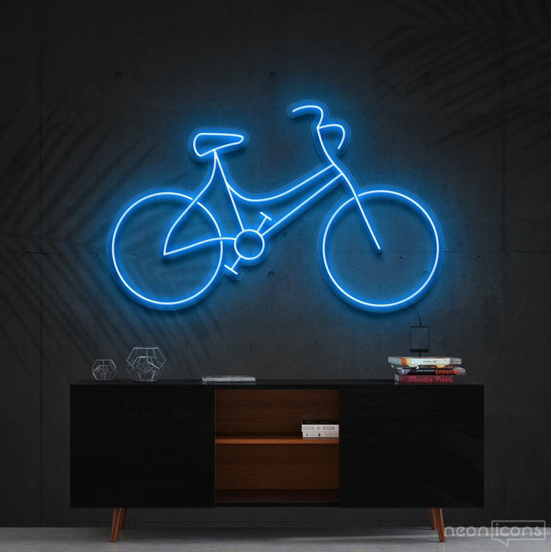 """Bicycle"" Neon Sign 60cm (2ft) / Ice Blue / Cut to Shape by Neon Icons"