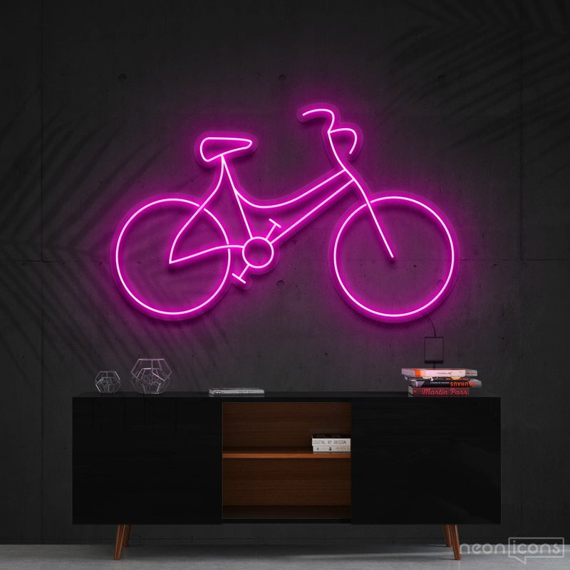 """Bicycle"" Neon Sign 60cm (2ft) / Pink / Cut to Shape by Neon Icons"
