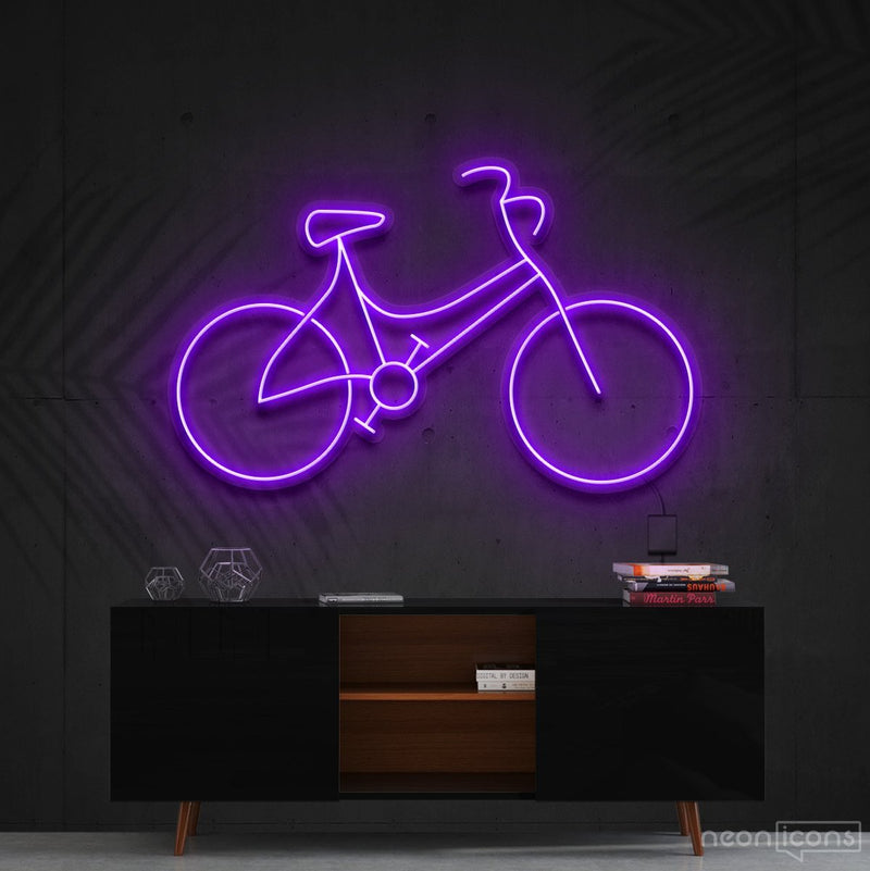 """Bicycle"" Neon Sign 60cm (2ft) / Purple / Cut to Shape by Neon Icons"