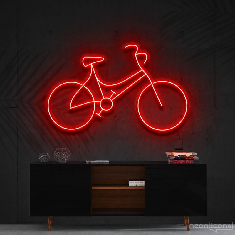 """Bicycle"" Neon Sign 60cm (2ft) / Red / Cut to Shape by Neon Icons"