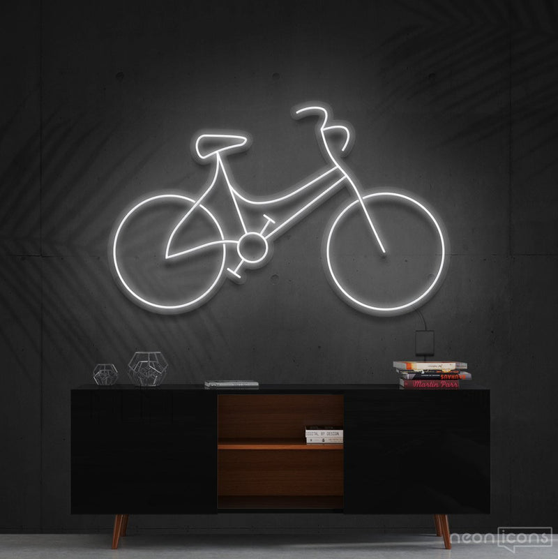 """Bicycle"" Neon Sign 60cm (2ft) / White / Cut to Shape by Neon Icons"