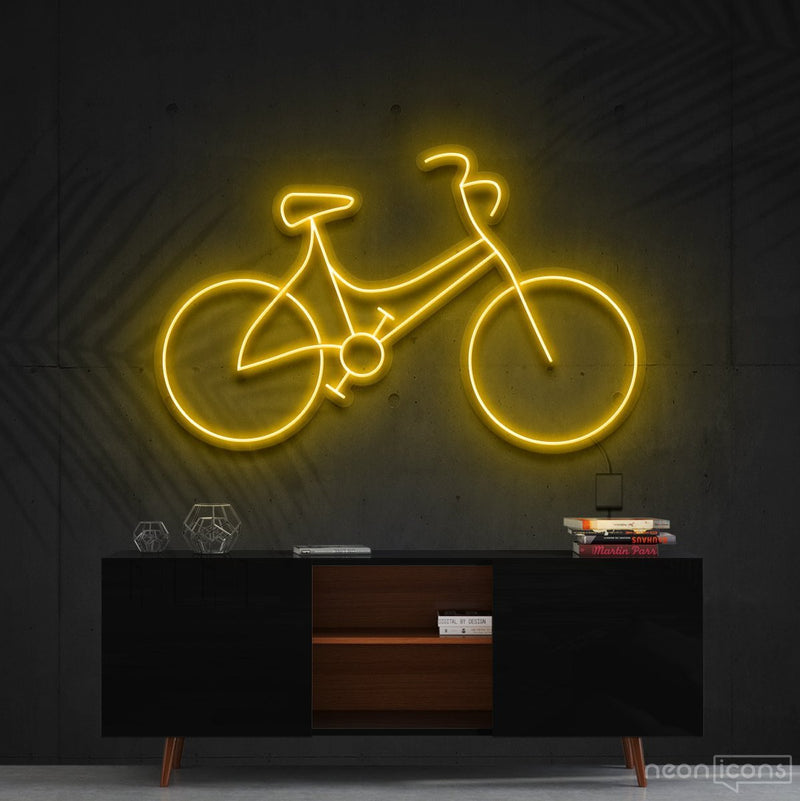 """Bicycle"" Neon Sign 60cm (2ft) / Yellow / Cut to Shape by Neon Icons"