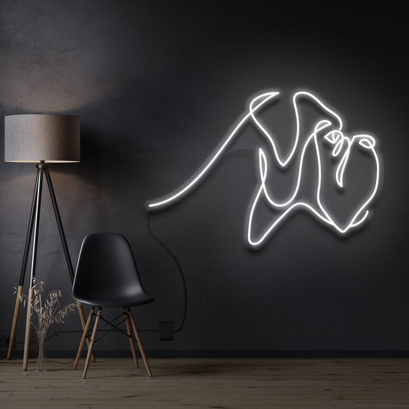 """Boxer Line Art"" Pet Neon Sign 60cm / White / Cut to Shape by Neon Icons"