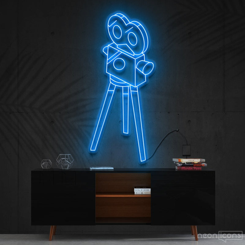 """Camera Roll"" Neon Sign 60cm (2ft) / Ice Blue / Cut to Shape by Neon Icons"