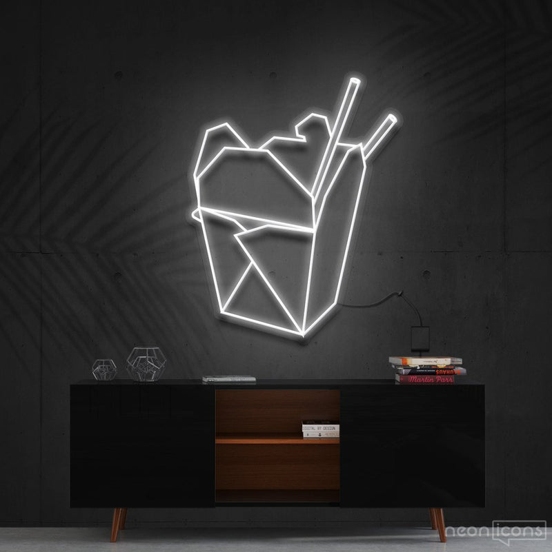 """Chinese Takeout"" Neon Sign 60cm (2ft) / White / Cut to Shape by Neon Icons"