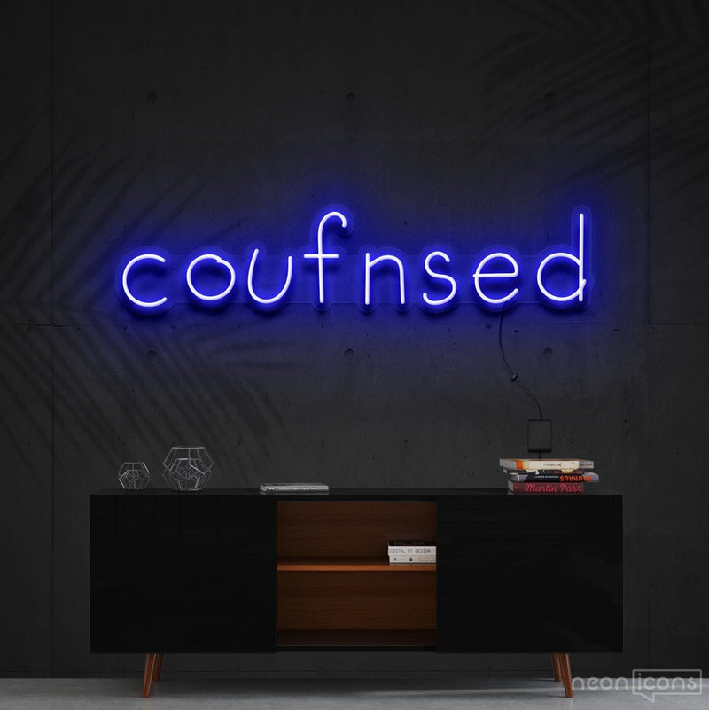 """Confused"" Neon Sign 60cm (2ft) / Blue / Cut to Shape by Neon Icons"